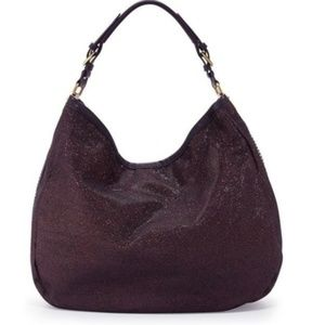 ORYany Brown Leather and Canvas Sparkle Bag HOBO